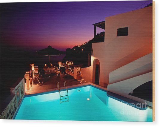 Colorful Dusk In Santorini Wood Print