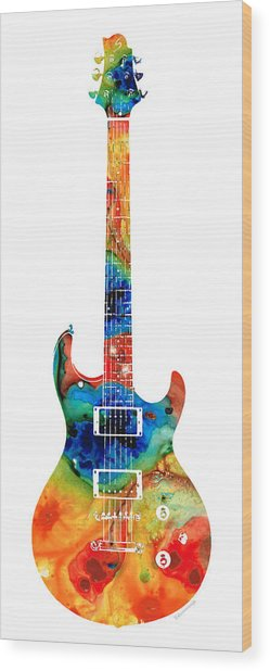 Colorful Electric Guitar 2 - Abstract Art By Sharon Cummings Wood Print