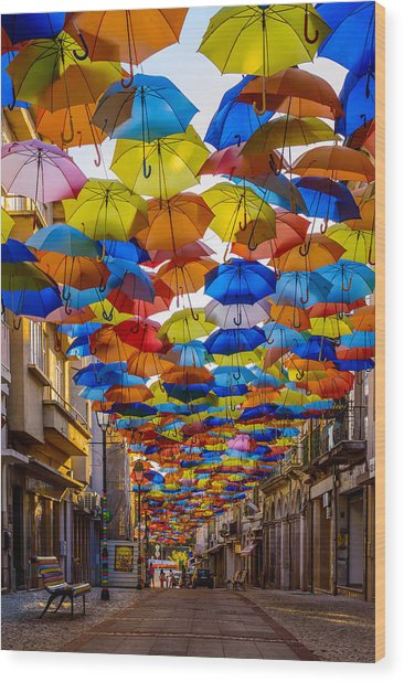 Colorful Floating Umbrellas Wood Print