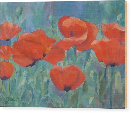 Colorful Flowers Red Poppies Beautiful Floral Art Wood Print