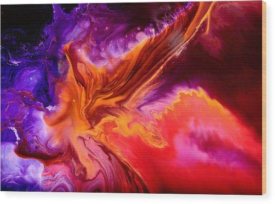 Colorful Fluid Abstract Art Moonstruck By Kredart Wood Print