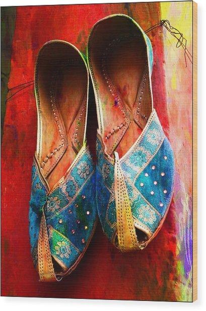 Colorful Footwear Juttis Sales Jaipur Rajasthan India Wood Print