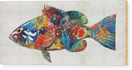 Colorful Grouper Art Fish By Sharon Cummings Wood Print