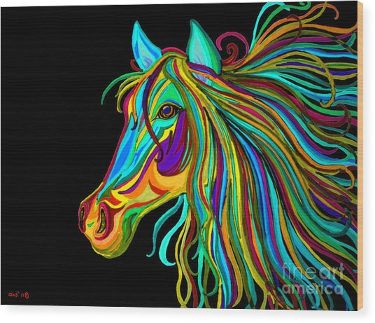 Colorful Horse Head 2 Wood Print