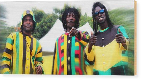 Colorful Jamaican Stilt Walkers Wood Print