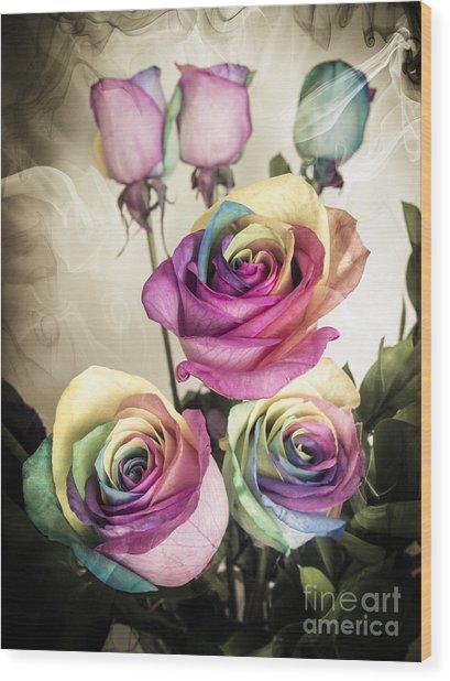 Colorful Kaleidoscope  Roses Wood Print by Linda Matlow