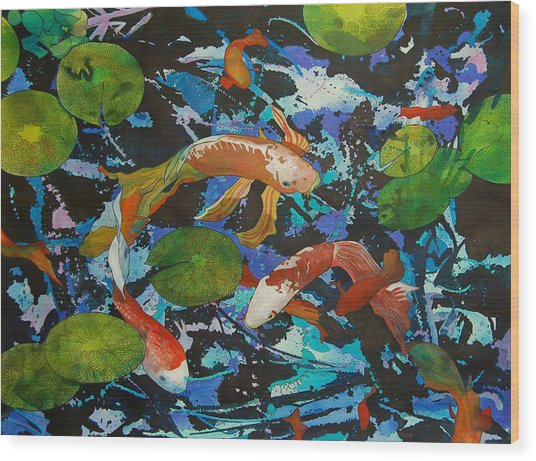 Colorful Koi Wood Print