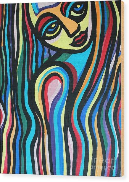 Colorful Lady  Wood Print