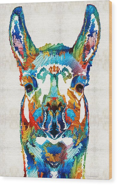 Colorful Llama Art - The Prince - By Sharon Cummings Wood Print