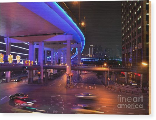 Colorful Night Traffic Scene In Shanghai China Wood Print