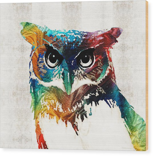 Colorful Owl Art - Wise Guy - By Sharon Cummings Wood Print