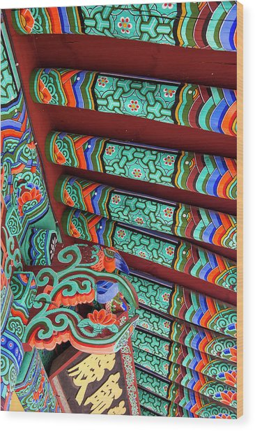 Colorful Painted Ceiling, Beopjusa Wood Print