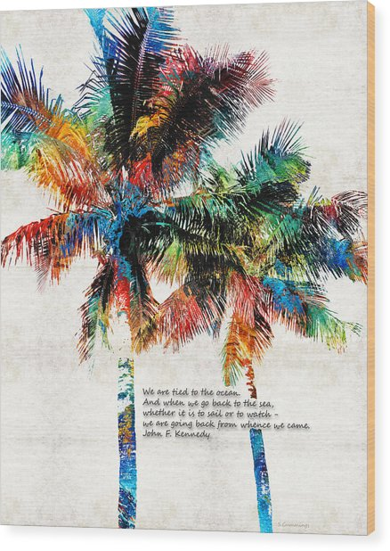 Colorful Palm Trees - Returning Home - By Sharon Cummings Wood Print