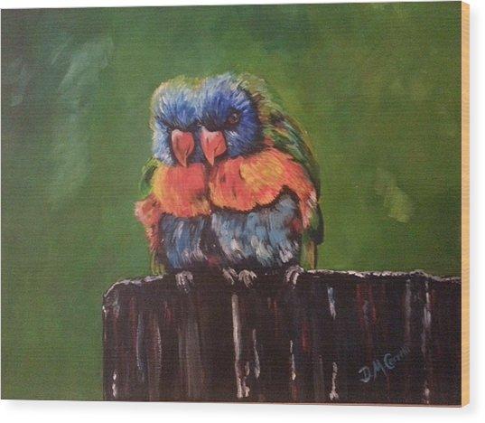 Colorful Parrots Wood Print