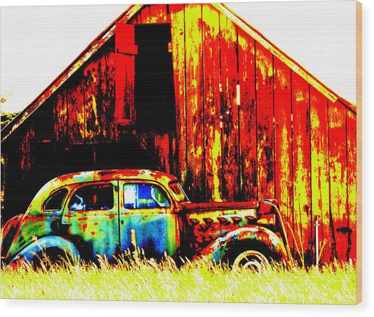Colorful Past Wood Print by Mamie Gunning