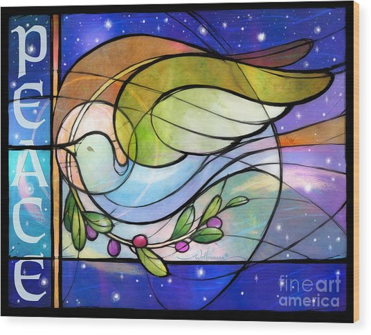 Colorful Peace Dove Wood Print