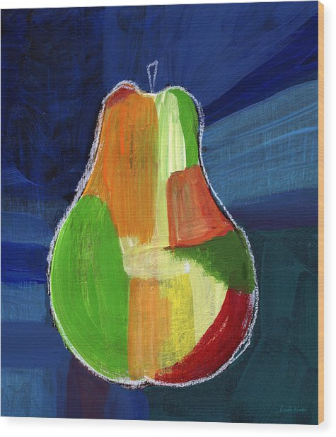 Colorful Pear- Abstract Painting Wood Print