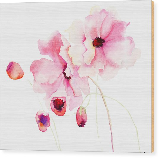 Colorful Pink Flowers Wood Print