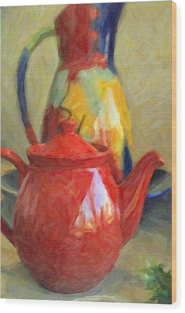 Colorful Pottery Wood Print by Kenny Francis