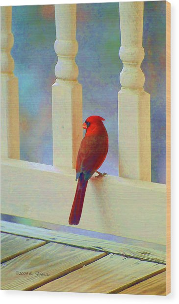 Colorful Redbird Wood Print