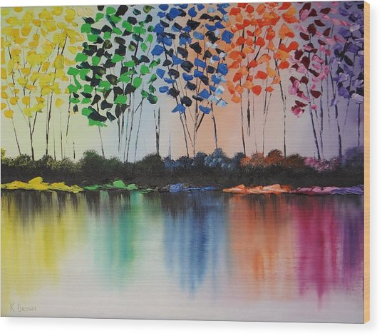 Colorful Reflections Wood Print