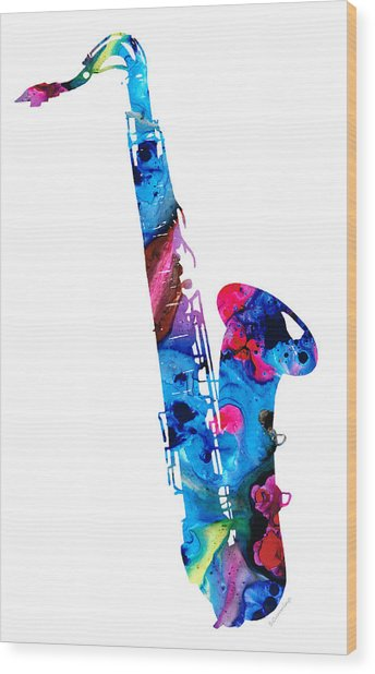 Colorful Saxophone 2 By Sharon Cummings Wood Print