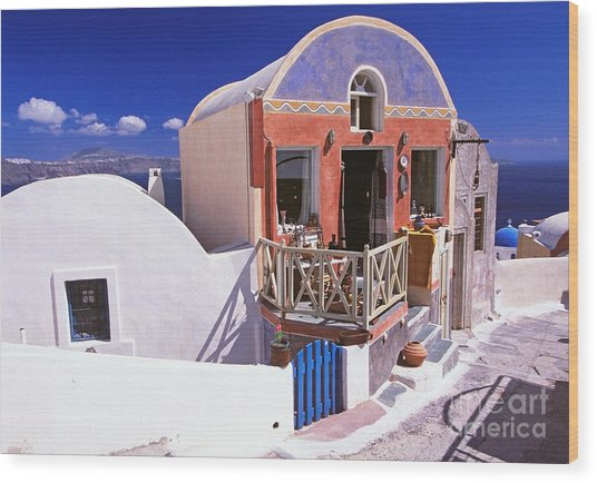 Colorful Shops In Oia Wood Print