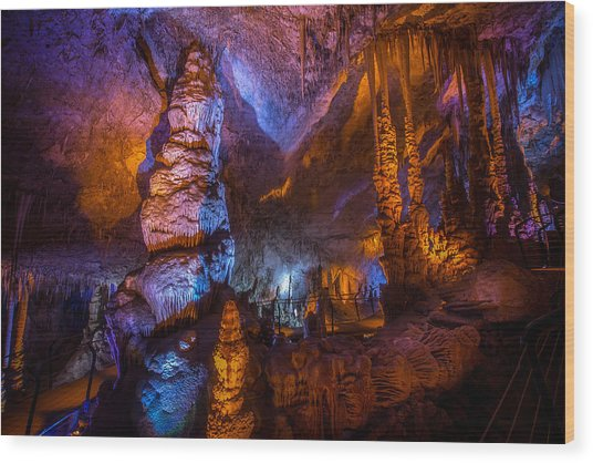 Colorful Stalactite Cave Wood Print