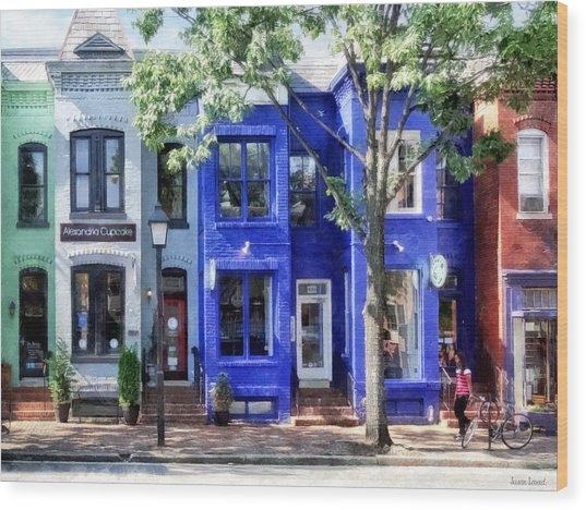 Alexandria Va - Colorful Street Wood Print