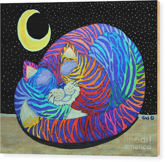Colorful Striped Cat In The Moonlight Wood Print