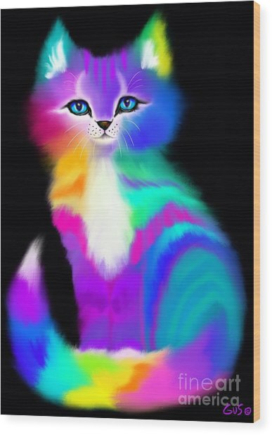 Colorful Striped Rainbow Cat Wood Print