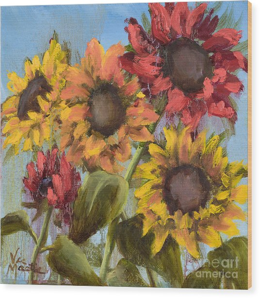 Colorful Sunflowers Wood Print