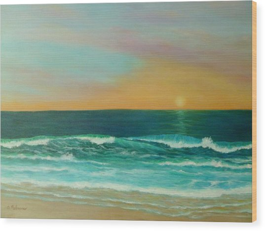 Colorful Sunset Beach Paintings Wood Print