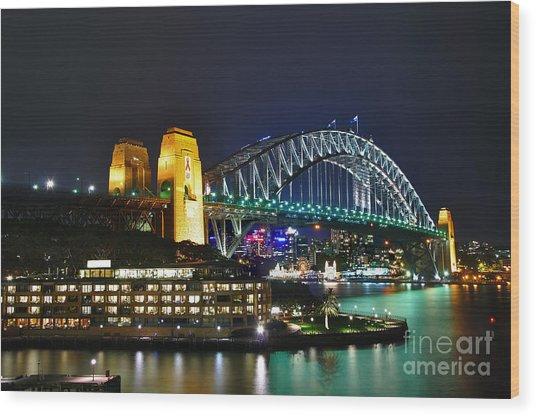Colorful Sydney Harbour Bridge By Night Wood Print