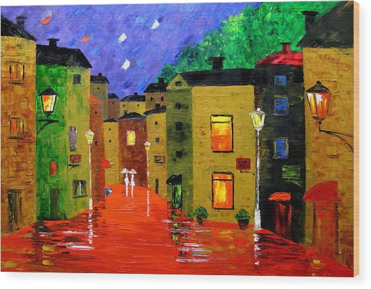 Colorful Town Wood Print by Mariana Stauffer
