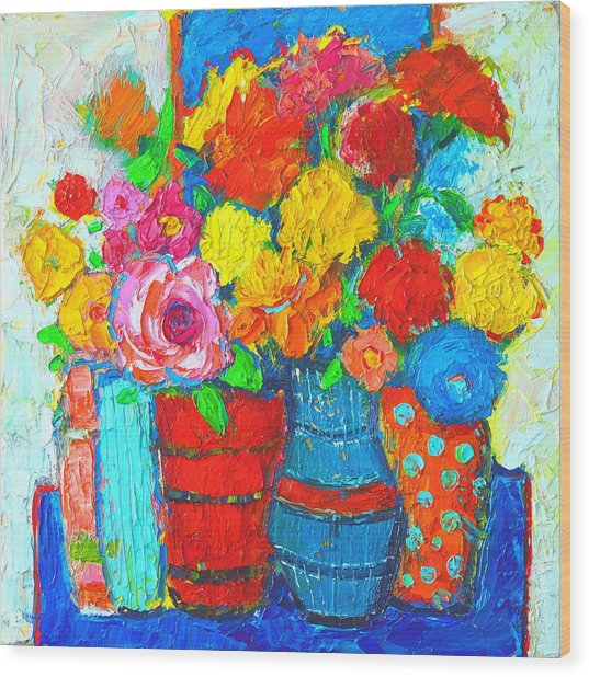Colorful Vases And Flowers - Abstract Expressionist Painting Wood Print