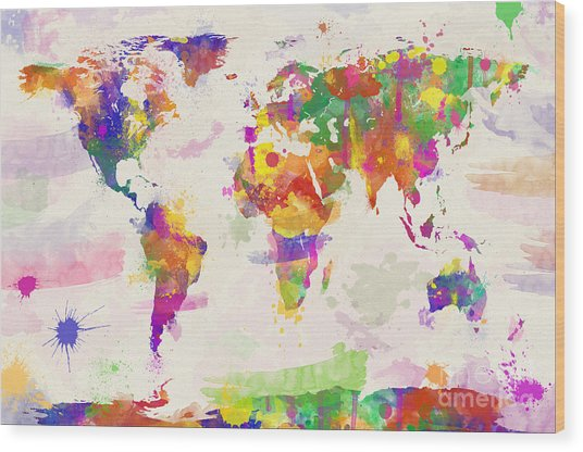 Colorful Watercolor World Map Wood Print