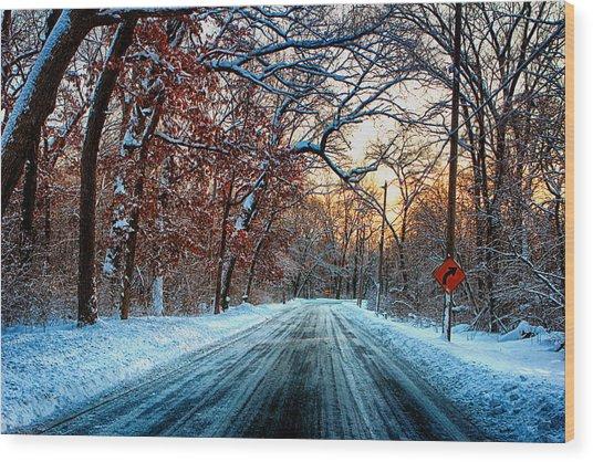Colorful Winter Wood Print