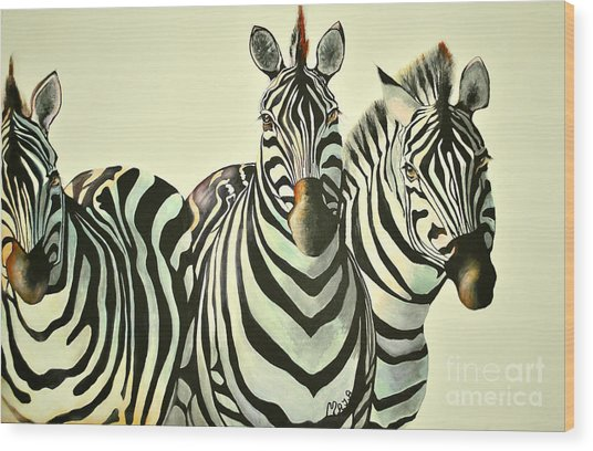 Colorful Zebras Painting Wood Print