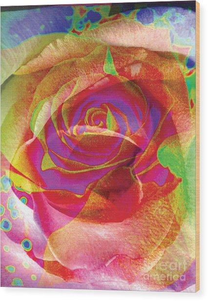 Colorfull Rose Wood Print