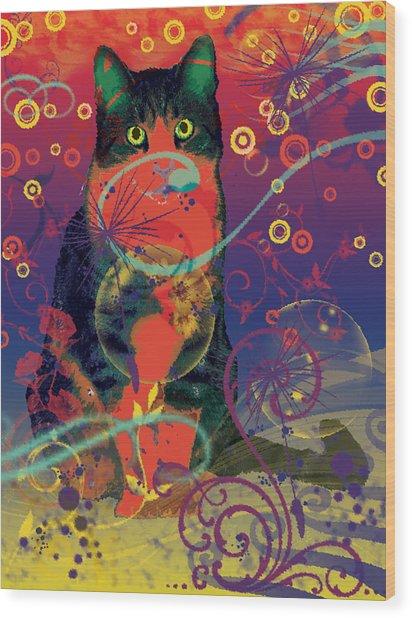 Colorfur Cat Wood Print