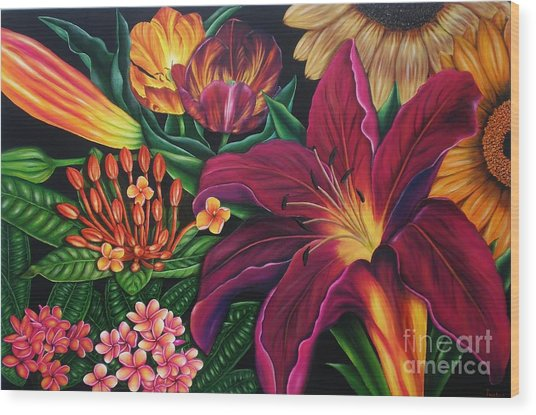 Colors Garden Wood Print