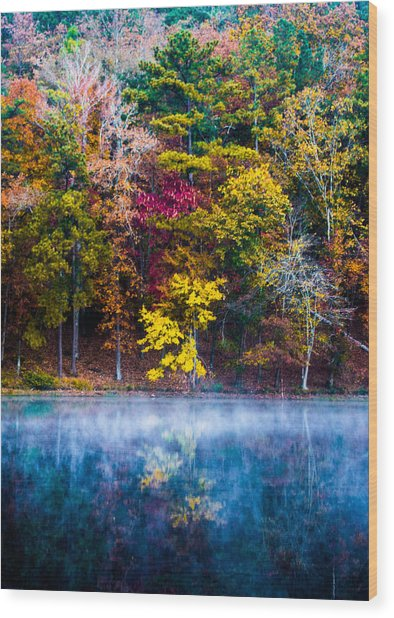 Colors In Early Morning Fog Wood Print