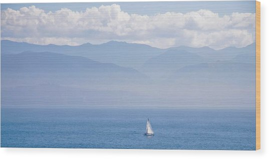 Colors Of Alaska - Sailboat And Blue Wood Print