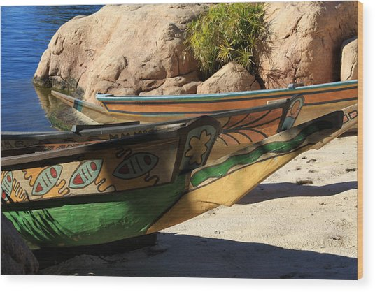 Colorul Canoe Wood Print