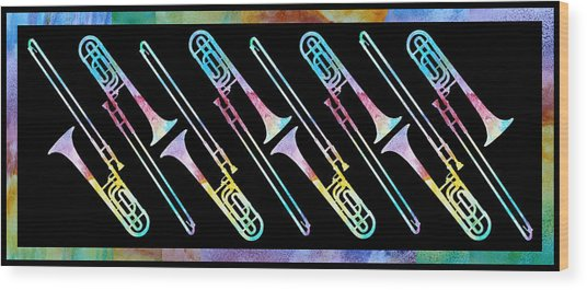 Colorwashed Trombones Wood Print