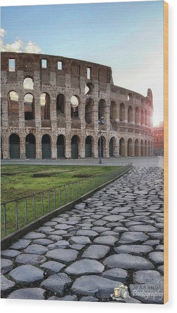 Coloseum Sunrise Wood Print by Victor Walsh Photography