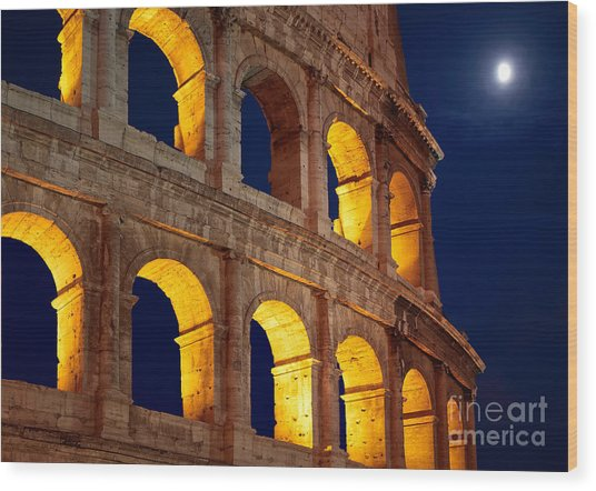 Colosseum And Moon Wood Print