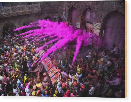 Colour Blast Wood Print by Avishek Das