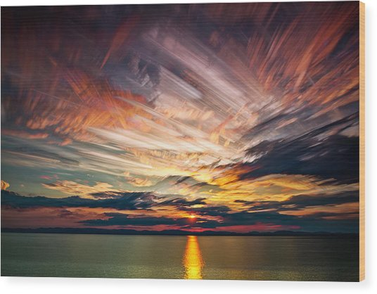 Colourful Cloud Collision Wood Print